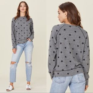 LNA Brushed Zinna Raglan Gray Black Star Sweater